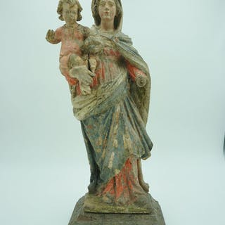 Virgin Mary with child Jesus - Baroque - Wood - First half 17th century