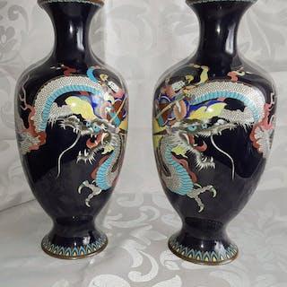 Vase (2) - Cloisonne enamel - Japan - 19th century