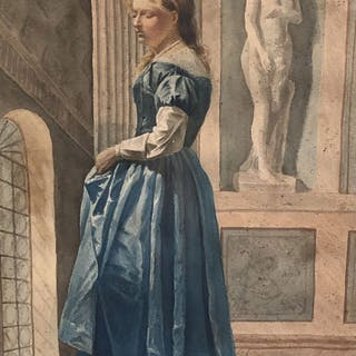 Bernardo Celentano (Napoli, 1835 – Roma, 1863) - Interno con figura femminile