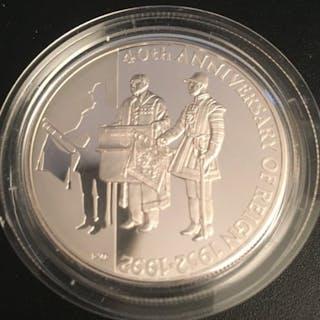 Falklandinseln - 50 cent1992 PP Piedfort - 50 Jahre Thronbesteigung Elizabeth II
