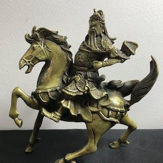 Statue (1) - Bronze doré - Cheval et cavalier - Yunchang...