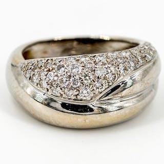 18 kts. White gold - Ring - 0.35 ct Diamond