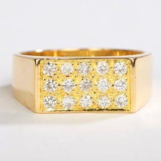 18 kts. Yellow gold - Ring - 0.15 ct Diamond
