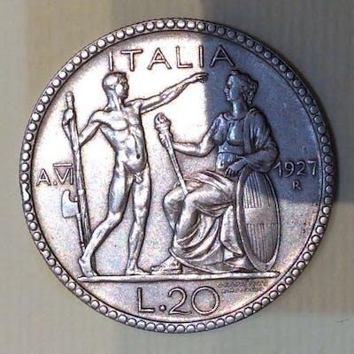 Italia - Regno d'Italia - 1927 - 20 Lire Littore  - Argento