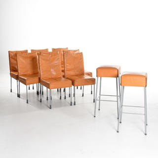 Gerard van den Berg - Montis - Set of 8 'Face' chairs with 2 'Samba' stools