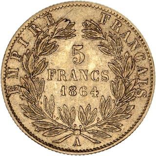 France - 5 Francs 1864-A Napoleon III - Gold