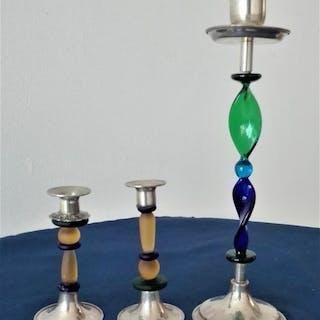 Leuchter (3) - .925 Silber - Italien - Zweite Hälfte des 20. Jahrhunderts