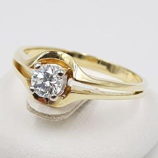 14 kt. Yellow gold - Solitaire Diamond Ring - 585 Gold - 1 Diamond