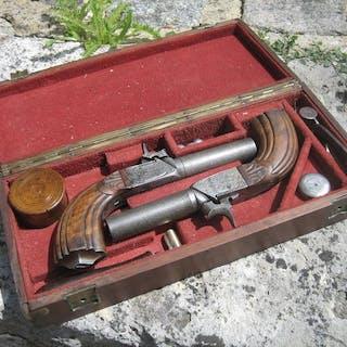 England - artisan anglais - paire de pistolets de voyage 19me
