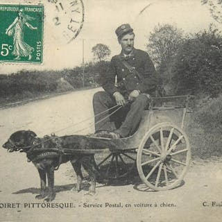 France - Postal service by dog car - Department of Loiret...