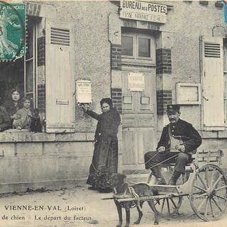 France - The departure of the postman by dog car - Vienne...