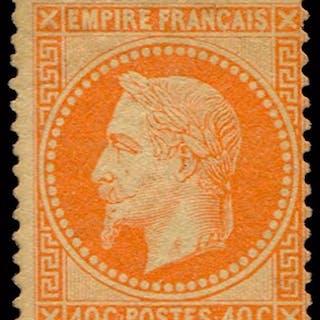 France 1868 - Napoléon III Lauré - 40c orange vif - Certificat - Yvert n°31b