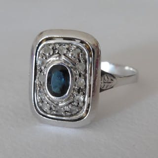 Made in Italy - 18 kt. White gold - Ring - 0.75 ct Sapphire - Diamonds