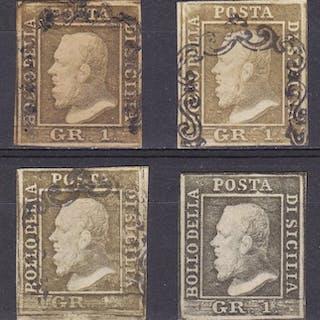 Sicilia 1859 - Effige di Ferdinando II -  4 esemplari 1...
