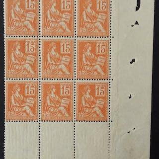 France 1900 - Mouchon type II, 15 c. orange, bloc de 9 - Yvert 117