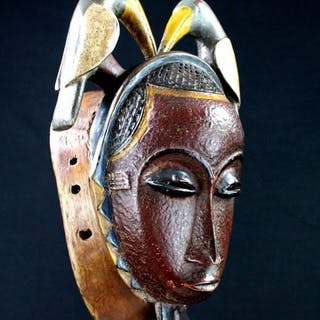 Beautiful African Mask - Wood, Paint - Guro - Ivory Coast
