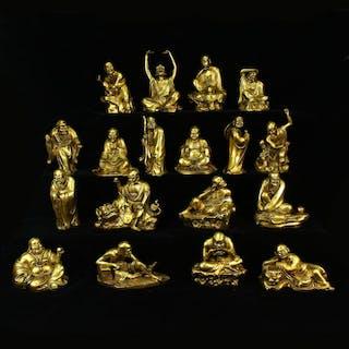 Eighteen Arhats' Figures - Bronze - China - Late 20th century