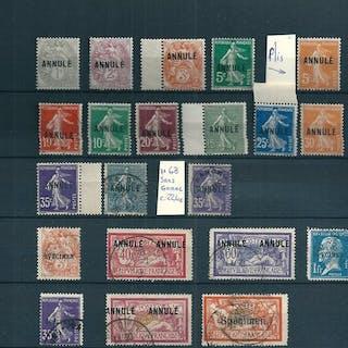 France 1900/1926 - lot de 21 timbres Cours d'Instruction/Annulé/Spécimen