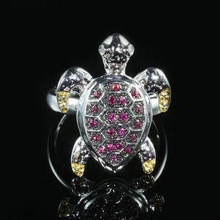 14 kt. Multicolor Gold - Turtle Ring Diamond - Pink & Yellow Sapphire
