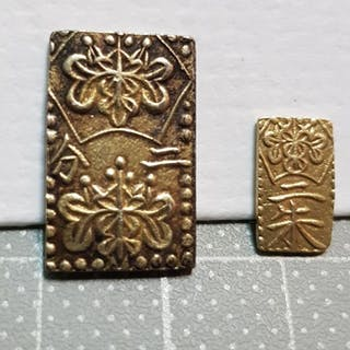 Japan - 2 Bu, Ban-Kin & 2 Shu (1832-1869) total weight: 3.8 g - Gold