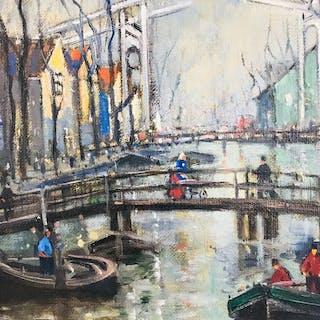 Otto Hamel - Gracht mit Brücke in Amsterdam