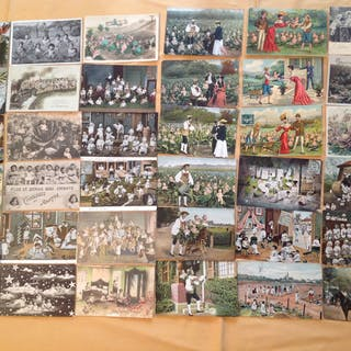 Fantaisie, children multiple babies - Cartes postales (Collection de 64) - 1903