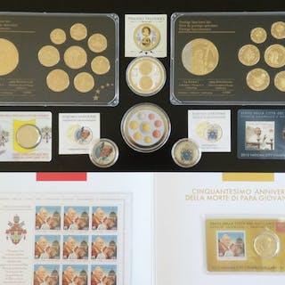 Vatikan - Lot mit Colorierten Euro Münzen / Specimen KMS...
