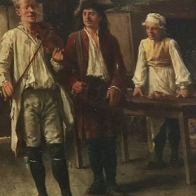 "Eugene Benjamin Fichel (1826-1 895) - Gemälde II ""Tavernenszene"""
