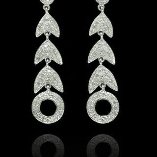 18 quilates Oro blanco - Pendientes - 0.50 ct Diamante