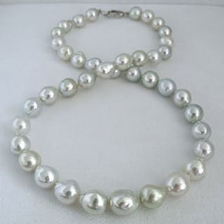 HS Jewellery Baroque South Sea Pearls 8.5mm X 11mm - Necklace, 18Kt. White Gold