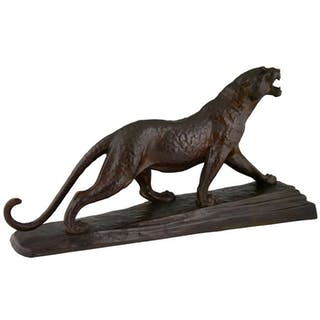 Louis Albert Carvin - Etling - Art Deco bronze sculpture panther
