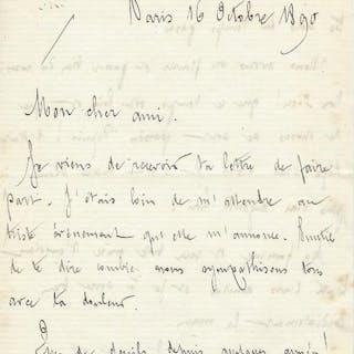Alfred Satie, Eric Satie's father - Autograph; Signed letter from Paris - 1890