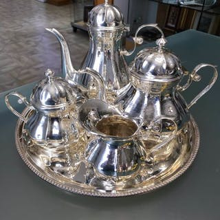 Coffee and tea service (5) - .800 silver - Italy - 21st century