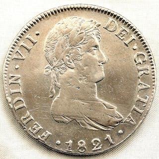 España - 8 Reales - 1821 - GUATEMATA - Fernando VII - MUY ESCASA - Plata