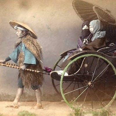 Attribuita alla Bottega di Felice Beato a Yokoama  - Geishe sul calesse