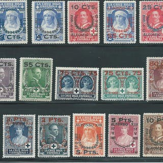 España 1927 - Serie completa Cruz Roja con habilitaciones - Edifil 373/387