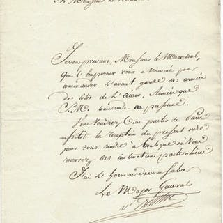 Marshal Berthier - Autograph; Signed letter to the...