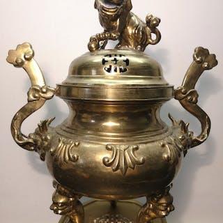 Profumo Brule - Bronzo dorato - Cane di Foo, Chimera - Cina - Inizio XX secolo