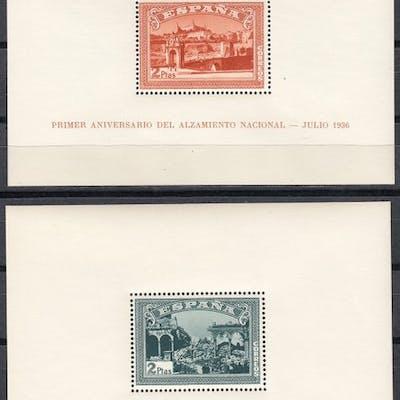 España 1937 - Hojas Bloque I aniversario alzamiento nacional - Edifil 836/837