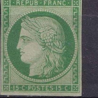 France 1850 - TB Ceres 15c vert , neuf sans gomme, certificat Roumet - Yvert 2