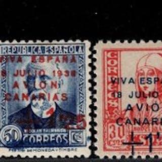 España 1937 - Canarias. Serie completa. Sellos habilitados. - Edifil 14/19