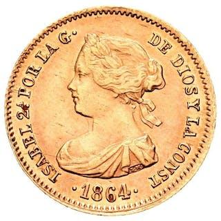 España - 40 reales - Isabel II (1833-1869) . 1864. Madrid - Oro