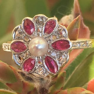 Pink gold, White gold - Ring Diamond - Diamonds, Pearl, Ruby