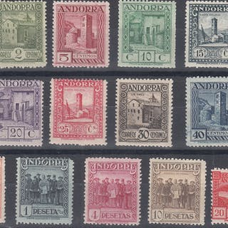 Andorra - Española 1929 - Paisajes de Andorra. Serie completa - Edifil 15/27
