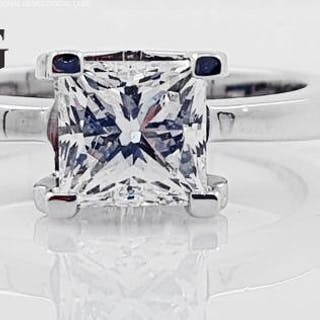 18 kt. White gold - Ring - Clarity enhanced 1.25 ct Diamond