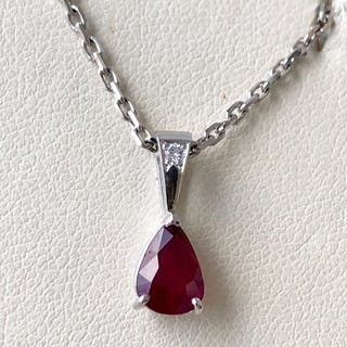 18 kt. White gold - Necklace with pendant - 1.12 ct Ruby Unheated - Diamond