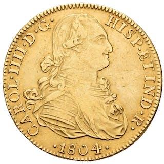 España - 8 escudos -Carlos IV (1788-1808). Méjico, 1804. Ensayador T.H.- Oro