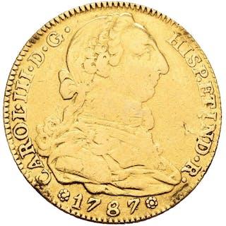España - 4 escudos -Carlos III (1759 - 1788). Madrid. 1787. Ensayador D.V - Oro
