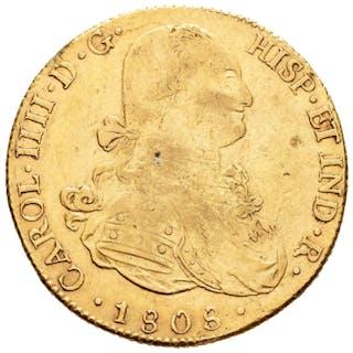 España - 8 escudos -Carlos IV (1788-1808). Potosí, 1808. Ensayador P.J - Oro