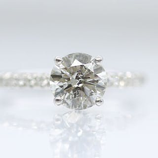 18 kt. White gold - Ring - 1.24 ct Diamond - D Colourless - No Reserve Price